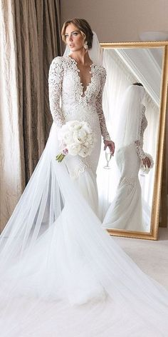 21 Illusion Long Sleeve Wedding Dresses You'll Like ?illusion long sleeve wedding dresses mermaid deep v neckline berta : 21 Illusion Long Sleeve Wedding Dresses You'll Like ?illusion long sleeve wedding dresses mermaid deep v neckline berta Wedding Dress Tea Length, Ivory Lace Wedding Dress, Sheer Wedding Dress, Wedding Dress Train, Wedding Dress Sleeves, Long Sleeve Wedding, Bridal Lace, Lace Dress, Dresses With Sleeves