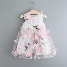 2016 Butterfly Print Girls Dresses Summer Petal Voile Sleeveless Kids Dresses for Girls Clothes Party Princess Dress Baby Girl Party Dresses, Birthday Girl Dress, Wedding Dresses For Girls, Birthday Dresses, Little Girl Dresses, Girls Dresses, Flower Girl Dresses, Summer Dresses, Dress Girl