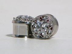 Silver Crystal Plugs 5/8 Inch 16mm. $30.00, via Etsy.
