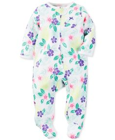 Carter's Baby Girls' Footed Purple Flower Coverall