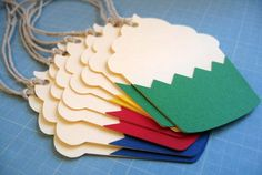 Cupcake Tags Set of 8 primary colors by tiffzippy on Etsy, $3.25 #gift #tag #cupcake (Very cool idea.)