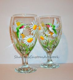 Hand Painted Tea Glasses or Wine Glasses Hummingbirds and Daisies Set of 2 - 16 oz. Gift Mothers Day Christmas Gift White Daisies Ice Tea