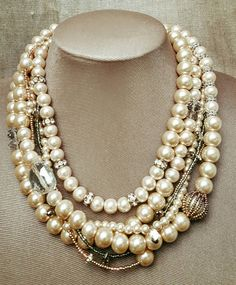 Check out this item in my Etsy shop https://www.etsy.com/ca/listing/479757217/chunky-champagne-pearl-and-crystal