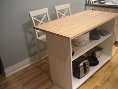 I want to make something like this but with enough room for 4 stools. Kitchen Island Cart with open shelving DIY
