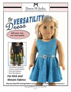 Forever 18 Inches The Versatility Dress Doll Clothes Pattern 18 inch American Girl Dolls | Pixie Faire  http://www.pixiefaire.com/products/geometry-class-dress-jumper-18-doll-clothes