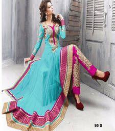 Buy sky blue embroidered net semi stitched salwar with dupatta anarkali-salwar-kameez online