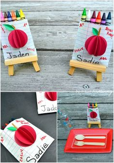 Back To School Favor Bags (awesome 3D apple on the front!). Would be great for a graduation party as well.