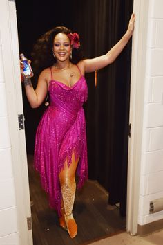 Rihanna in Adam Selman backstage at the 60th Annual GRAMMY Awards. #bestdressed