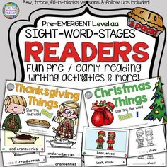 Thanksgiving and Christmas PreEmergent Readers and Activities Kindergarten Reading Activities, Kindergarten Lesson Plans, Sight Word Activities, Reading Resources, Writing Activities, Reading Books, Classroom Resources, Help Teaching, Teaching Reading