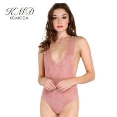 46e8fab003a Lemon 2017 New Women Solid Pink Bodysuit Sexy Plunge Neck Backless Bodycon  Playsuit Comfort Sleeveless Slim Elegant Rompers