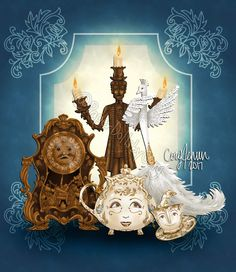 Cogsworth, Lumiere, Mrs. Potts, Chip and Plumette