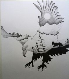Eagle, fox-drawing