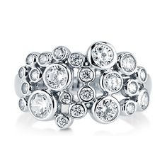 Clear Cubic Zirconia CZ 925 Sterling Silver Bubble Design Fashion Ring