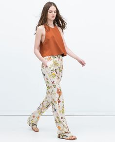 Image 4 of PRINTED WIDE-LEG TROUSERS from Zara