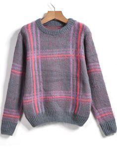 Grey Round Neck Plaid Loose Sweater