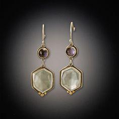 Iolite and Topaz Drop Earrings | Ananda Khalsa Jewelry