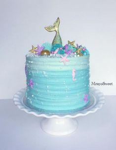 Ideas Cake Birthday Homemade Fun - Judy E. Little Mermaid Cakes, Mermaid Birthday Cakes, Cupcake Birthday Cake, Little Mermaid Birthday, Little Mermaid Parties, Cupcake Cakes, 5th Birthday, Birthday Ideas, Homemade Smash Cake
