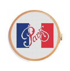 Paris cross stitch pattern / French flag by PatternsCrossStitch, $3.00