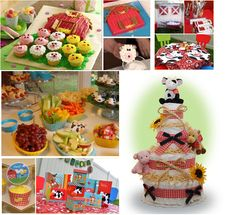 cute ideas for a farm themed birthday party! I LOVE the cake with the barn and animal cupcakes