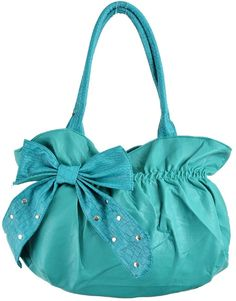 Teal Purse With Oversized Bow: