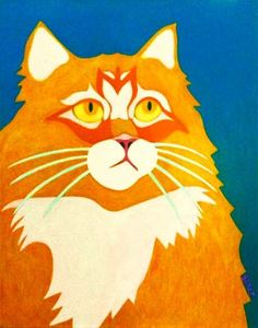 Modern Colorful Cat Paintings | maine-coon-cat-orange-white-cat-abstract-art-painting-pet-portrait ...