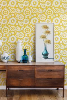 Lovely Mod Meadows wallpaper designs from the new Layla Faye collection.