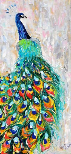 Original oil painting PEACOCK bird decorative palette knife fine art impressionism by Karen Tarlton via Etsy