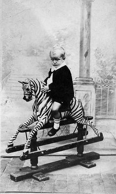 rocking horse zebra thing omg so cute. My child will need this instead of a regular rocking horse Antique Rocking Horse, Rocking Horse Toy, Vintage Horse, Vintage Children Photos, Vintage Images, Vintage Pictures, Antique Photos, Vintage Photographs, Old Pictures