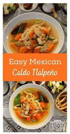 Caldo Tlalpeño is a delightful and nutritious soup made with chicken, carrots, chickpeas, and green beans. It is usually garnished with avocado and cheese and served with a Chipotle pepper on the side.  #easyrecipes #mexicanfood #healthyfood #soup #caldo #lowcarb  #healthy