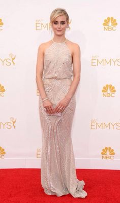 Orange Is The New Black star, Taylor Schilling, looked flawless in a flowing cream Zuhair Murad dress with 'to-die-for' detailing. Emmys 2014.