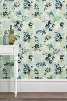 Teal Watercolour Bloom Wallpaper