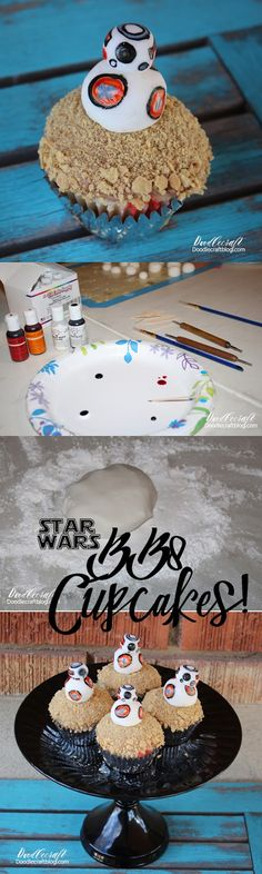 Doodlecraft: Star Wars BB8 Cupcake Toppers!