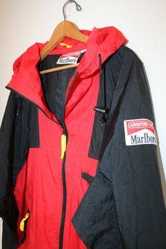 Marlboro windbreaker folds into a fanny pack // Vintage Marlboro cigarettes // light weight jacket // 90s Windbreaker // adult size XL rare Xv7NK13PW