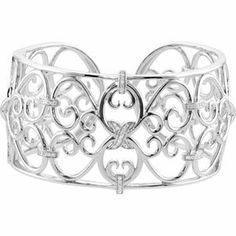 925 Sterling Silver Diamond Cuff Bracelet Reeve and Knight. $825.00. Promptly Packaged with Free Shipping and Free Gift Box... Perfect for Gift Giving. This item features a high polish finish for Excellent sparkle and pop. Completely redesigned and revamped for the year 2012. This jewelry is symbolic in nature and can be the perfect gift for any and all occasions. Manufactured using up-to-date manufacturing techniques ensuring the highest quality and value