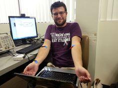 Steve practicing setup and use of an EKG in Biomedical Engineering Senior Design!