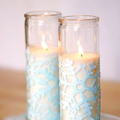 Make these winter votives using scrapbook paper and Mod Podge.