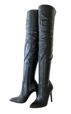 121445f4850 Light Weight Stretch PU Covered Stiletto Heel Pointy Toe Thigh High Boots  Black  Trendyoak