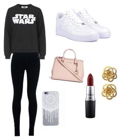 """""""Whatever"""" by alyshakay on Polyvore featuring Tee and Cake, NIKE, Michael Kors and MAC Cosmetics"""