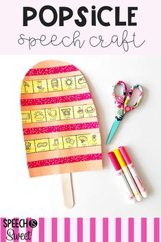 This popsicle craft will be a hit during summer speech therapy or the end of the year! This easy to Speech Language Therapy, Speech Language Pathology, Speech And Language, Speech Therapy Activities, Language Activities, Ice Cream Theme, Articulation Therapy, Popsicle Crafts, Apraxia