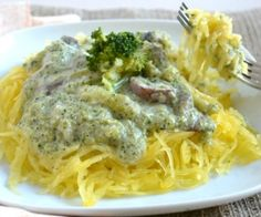 Rich and creamy broccoli cream sauce (gluten free, vegan) served over spaghetti squash.
