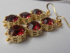 Ruby Red Swarovski Crystals Filigree Lace setting Gold plated Hook earrings Victorian style Jewelry
