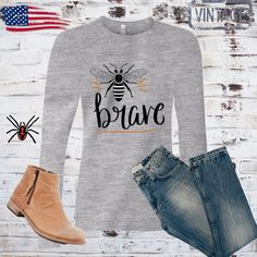 Be brave long sleeve shirts,bee tshirt,queen bee shirt,bumble bee,animal t-shirt,honey bee,be brave little one,tshirt women,mom shirt, by Bulwar on Etsy Mom Shirts, T Shirts For Women, Fishing Gifts, Queen Bees, Funny Tshirts, Wedding Engagement, Brave, Long Sleeve Shirts, Honey