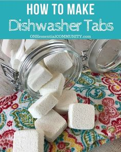 GOING TO TRY THIS NEXT easy-to-make homemade natural dishwasher detergent tabs and they REALLY WORK! Cleans stuck-on food, gets silverware shiny, & glasses sparkling! DIY essential oil recipe for dishwasher detergent tabs Homemade Cleaning Products, Cleaning Recipes, Natural Cleaning Products, Cleaning Hacks, Diy Hacks, Natural Products, Household Products, Bath Products, Household Tips