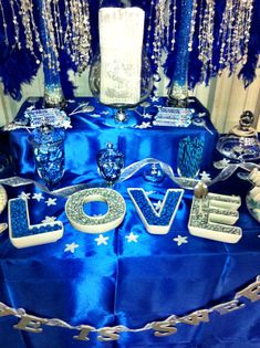 My wedding candy buffet! Blue, silver, & white!
