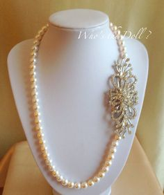 Bridal Necklace/Swarovski crystal Pearl by WhostheDoll on Etsy