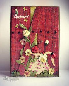 """Скрапим на радость: МК от Фуксии. Создание """"деревянного""""фона."""