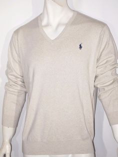 Polo Ralph Lauren men's pima v-neck sweater size small NWT color oatmeal gray #PoloRalphLauren #VNeck