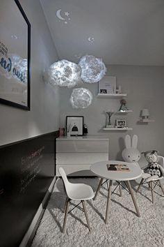 cloud lights | modern girl's room | black + white