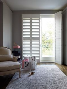 Simple plantation shutters make the perfect window dressing solution for a patio or balcony door. http://www.theshutterstore.com