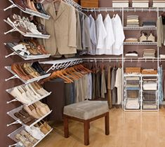 Organize closet - we have these white wire racks
